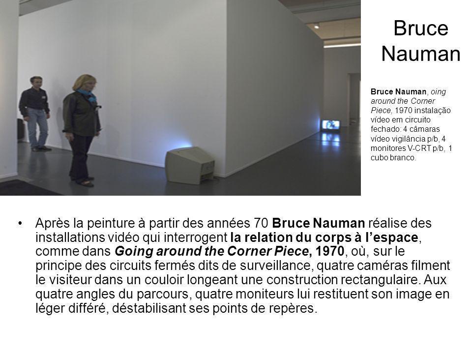 Dans le prolongement de ce travail, Bruce Nauman conçoit des dispositifs vidéo avec pour but de pérenniser, en les isolant, des activités quotidiennes.
