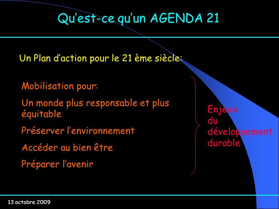 13 octobre 2009 Quest-ce quun AGENDA 21 Un Plan daction pour le 21 ème siècle: Mobilisation pour: Un monde plus responsable et plus équitable Préserve