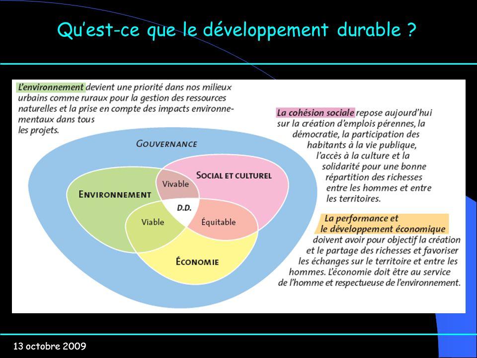 13 octobre 2009 Quest-ce que le développement durable ?