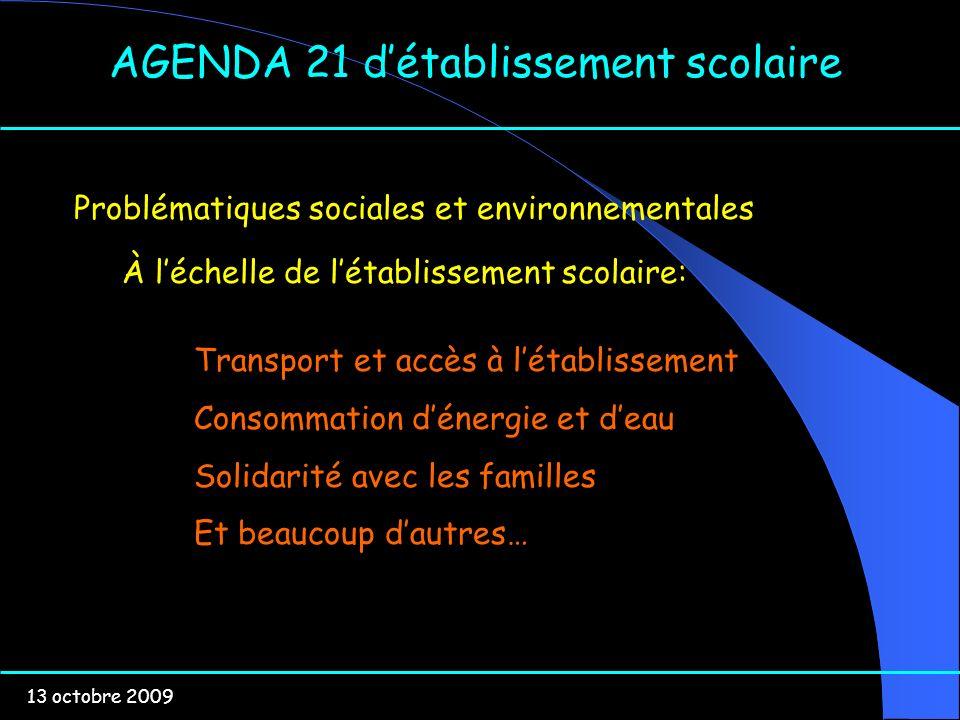 13 octobre 2009 AGENDA 21 détablissement scolaire Problématiques sociales et environnementales À léchelle de létablissement scolaire: Transport et acc