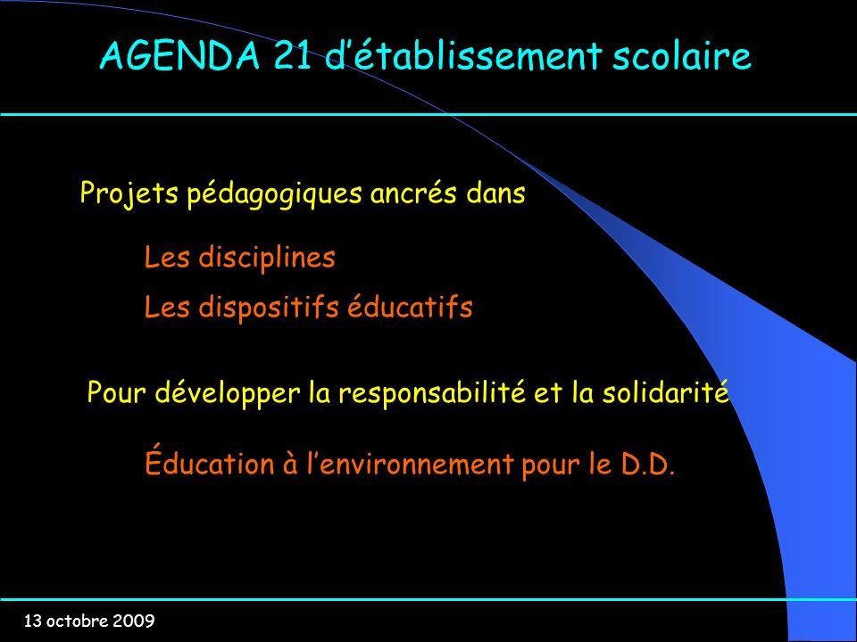 13 octobre 2009 AGENDA 21 détablissement scolaire Projets pédagogiques ancrés dans Les disciplines Les dispositifs éducatifs Pour développer la respon