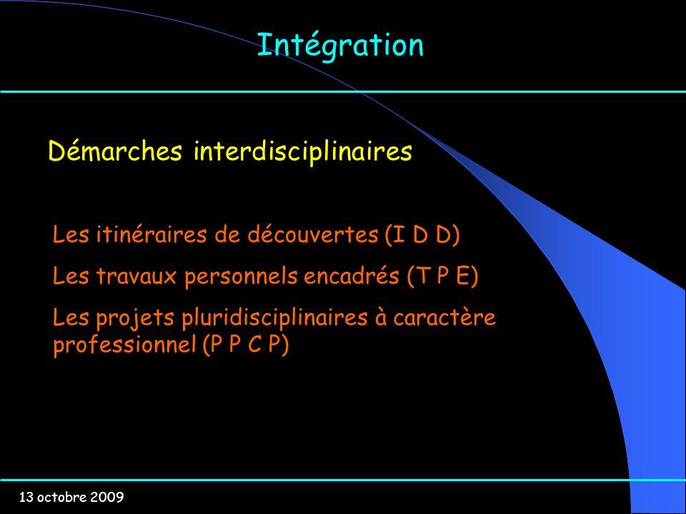 13 octobre 2009 Intégration Démarches interdisciplinaires Les itinéraires de découvertes (I D D) Les travaux personnels encadrés (T P E) Les projets p