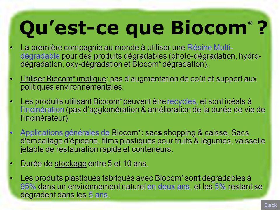 Quest-ce que Biocom ? La première compagnie au monde à utiliser une Résine Multi- dégradable pour des produits dégradables (photo-dégradation, hydro-