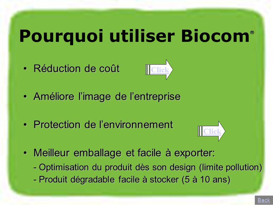 Pourquoi utiliser Biocom Réduction de coûtRéduction de coût Améliore limage de lentrepriseAméliore limage de lentreprise Protection de lenvironnementP