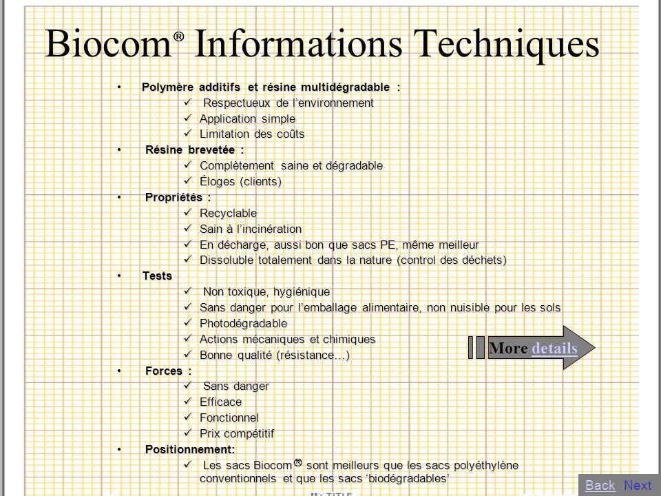 Biocom Informations Techniques Polymère additifs et résine multidégradable :Polymère additifs et résine multidégradable : Respectueux de lenvironnemen