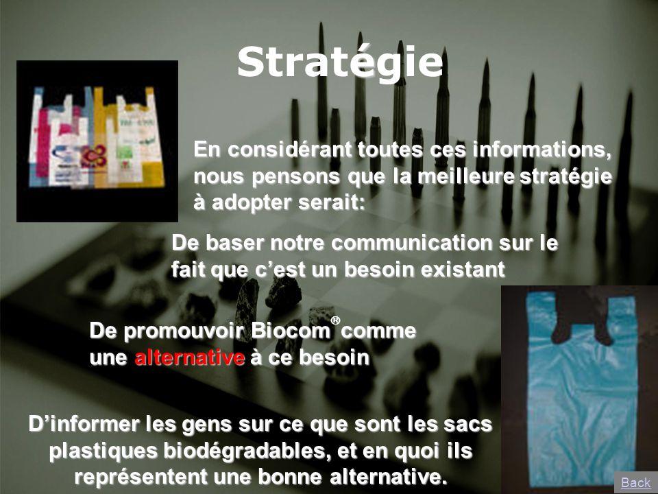 é Stratégie En considérant toutes ces informations, nous pensons que la meilleure stratégie à adopter serait: De promouvoir Biocomcomme une alternativ