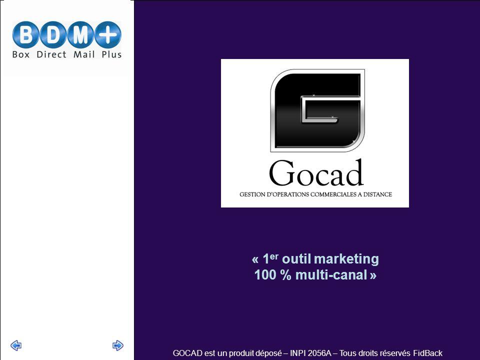 GOCAD est un produit déposé – INPI 2056A – Tous droits réservés FidBack « 1 er outil marketing 100 % multi-canal »