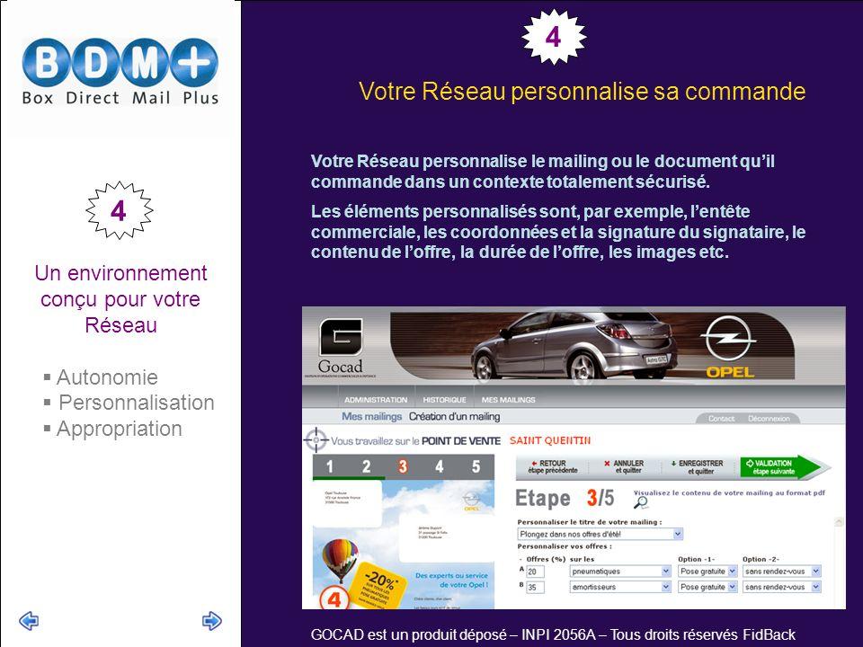 GOCAD est un produit déposé – INPI 2056A – Tous droits réservés FidBack Un environnement conçu pour votre Réseau Autonomie Personnalisation Appropriation Votre Réseau personnalise sa commande Votre Réseau personnalise le mailing ou le document quil commande dans un contexte totalement sécurisé.