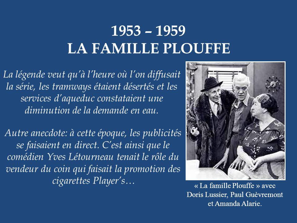 1953 – 1959 LA FAMILLE PLOUFFE « La famille Plouffe » formée de Paul Guèvremont, Amanda Alarie, Denise Pelletier, Émile Genest, Jean-Louis Roux et Pie