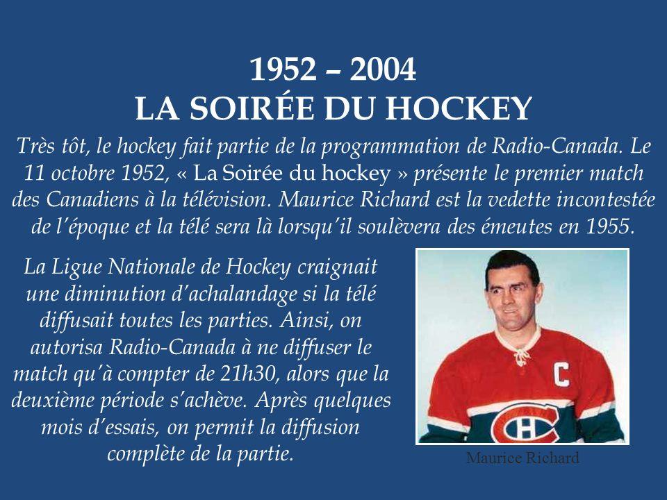 1952 – 2004 LA SOIRÉE DU HOCKEY Très tôt, le hockey fait partie de la programmation de Radio-Canada.