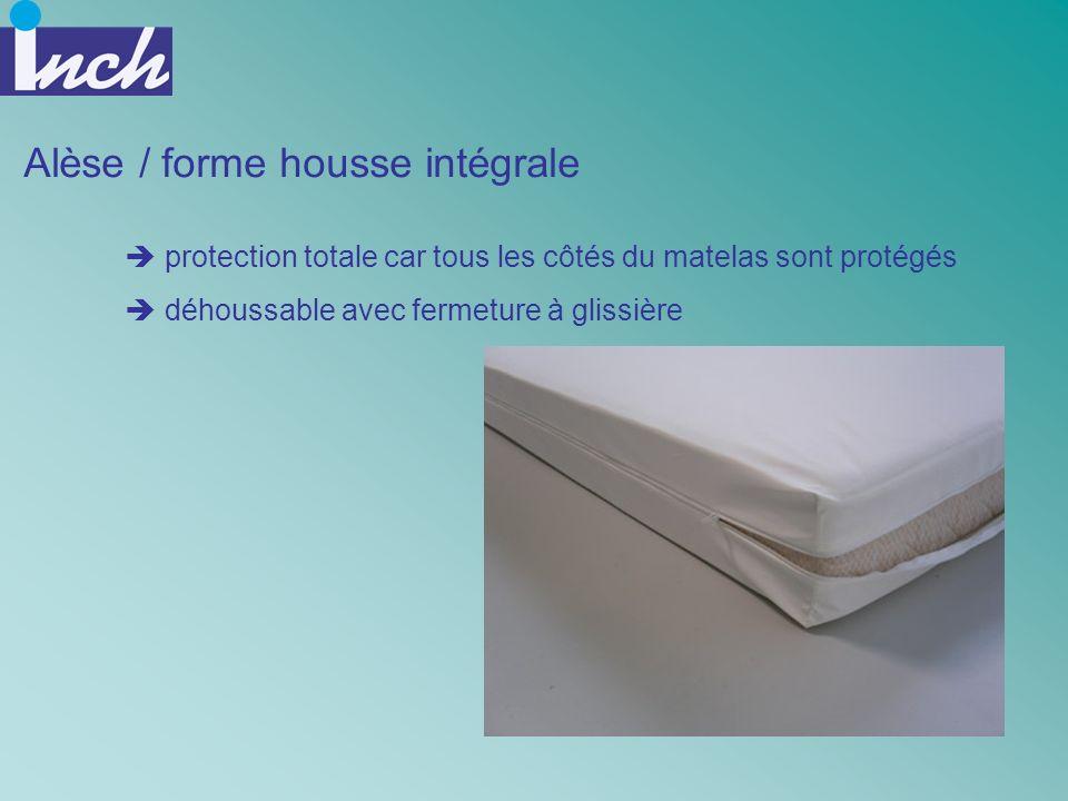 Alèse / forme housse intégrale protection totale car tous les côtés du matelas sont protégés déhoussable avec fermeture à glissière