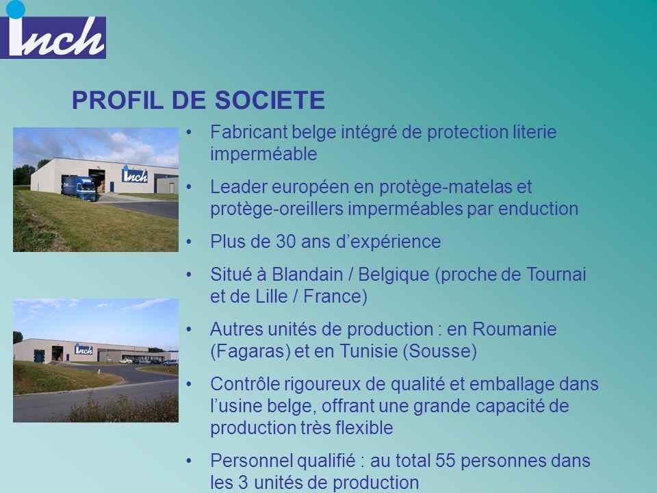 PROFIL DE SOCIETE Fabricant belge intégré de protection literie imperméable Leader européen en protège-matelas et protège-oreillers imperméables par e