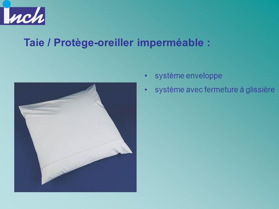 Taie / Protège-oreiller imperméable : système enveloppe système avec fermeture à glissière