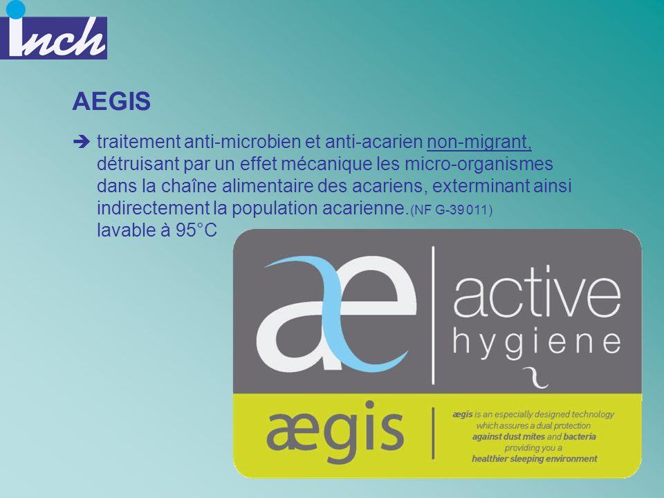 AEGIS traitement anti-microbien et anti-acarien non-migrant, détruisant par un effet mécanique les micro-organismes dans la chaîne alimentaire des aca