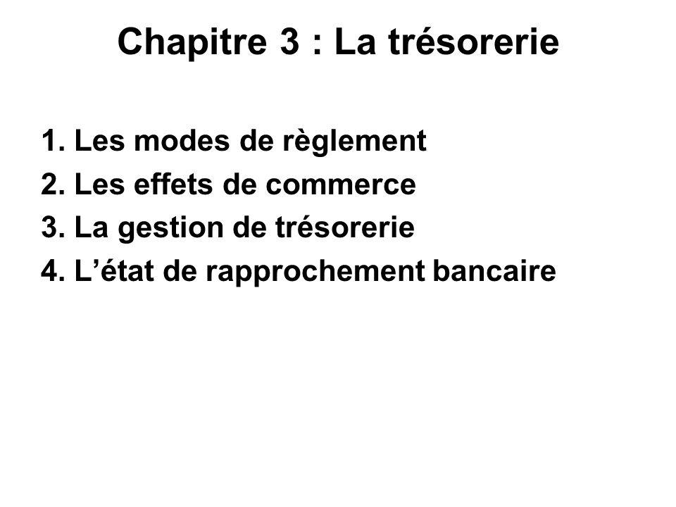 Chapitre 3 : La trésorerie 1. Les modes de règlement 2. Les effets de commerce 3. La gestion de trésorerie 4. Létat de rapprochement bancaire