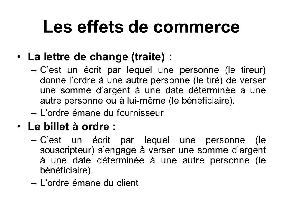 Les effets de commerce La lettre de change (traite) : –Cest un écrit par lequel une personne (le tireur) donne lordre à une autre personne (le tiré) d