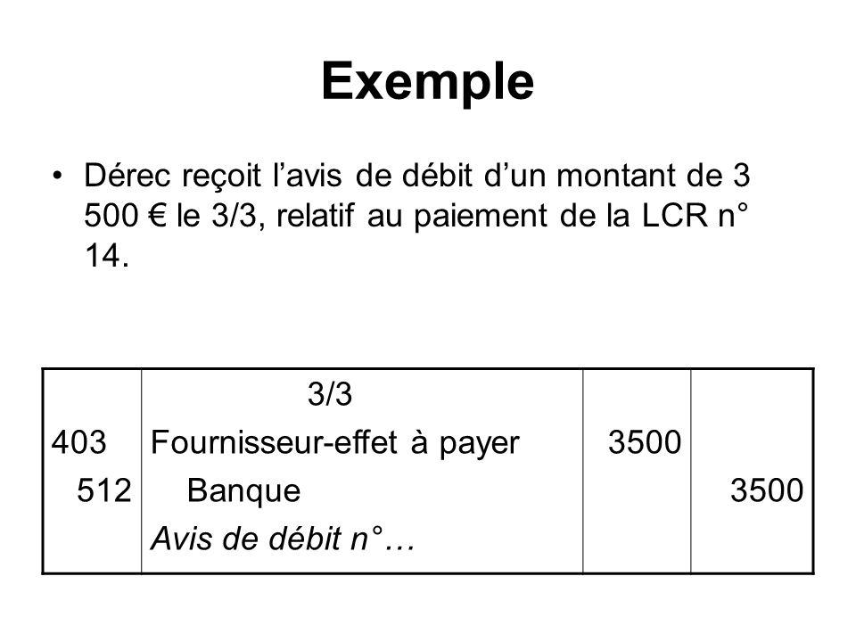 Exemple Dérec reçoit lavis de débit dun montant de 3 500 le 3/3, relatif au paiement de la LCR n° 14. 403 512 3/3 Fournisseur-effet à payer Banque Avi