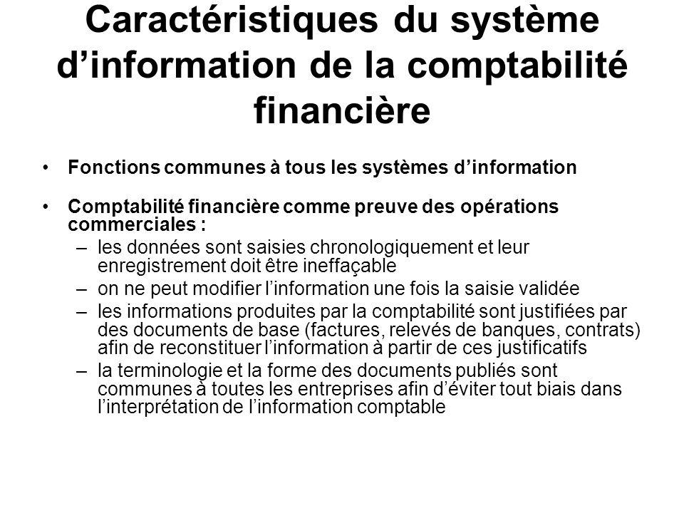 Caractéristiques du système dinformation de la comptabilité financière Fonctions communes à tous les systèmes dinformation Comptabilité financière com
