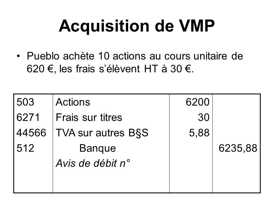 Acquisition de VMP Pueblo achète 10 actions au cours unitaire de 620, les frais sélèvent HT à 30. 503 6271 44566 512 Actions Frais sur titres TVA sur