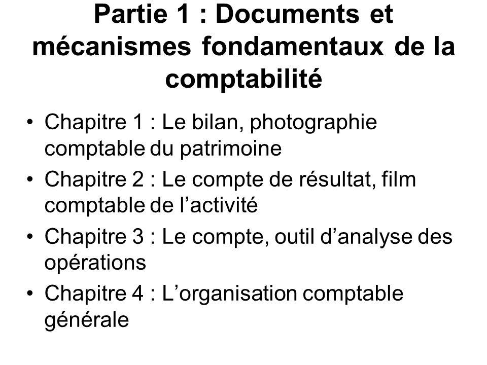 Partie 1 : Documents et mécanismes fondamentaux de la comptabilité Chapitre 1 : Le bilan, photographie comptable du patrimoine Chapitre 2 : Le compte