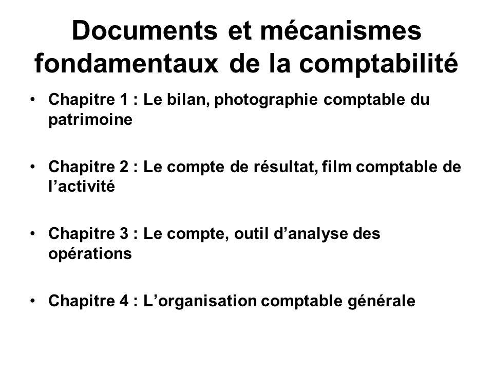 Documents et mécanismes fondamentaux de la comptabilité Chapitre 1 : Le bilan, photographie comptable du patrimoine Chapitre 2 : Le compte de résultat