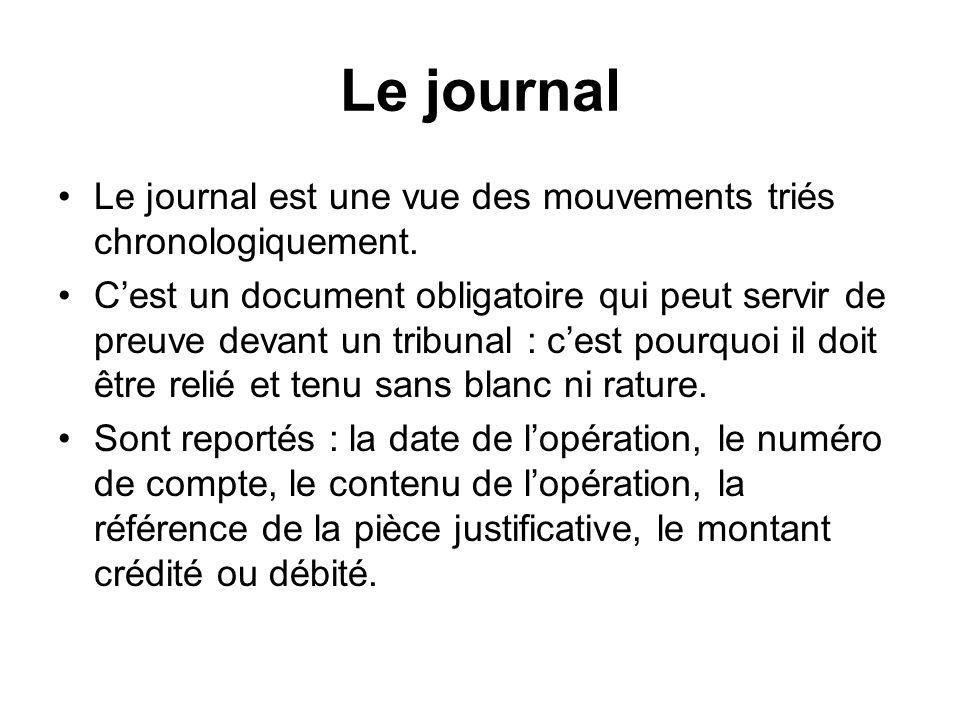 Le journal Le journal est une vue des mouvements triés chronologiquement. Cest un document obligatoire qui peut servir de preuve devant un tribunal :