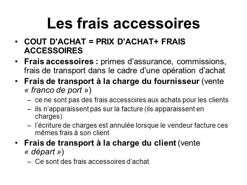 Les frais accessoires COUT D'ACHAT = PRIX D'ACHAT+ FRAIS ACCESSOIRES Frais accessoires : primes dassurance, commissions, frais de transport dans le ca