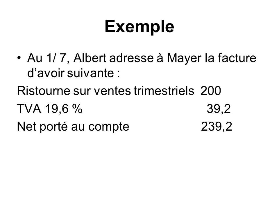Exemple Au 1/ 7, Albert adresse à Mayer la facture davoir suivante : Ristourne sur ventes trimestriels 200 TVA 19,6 % 39,2 Net porté au compte 239,2