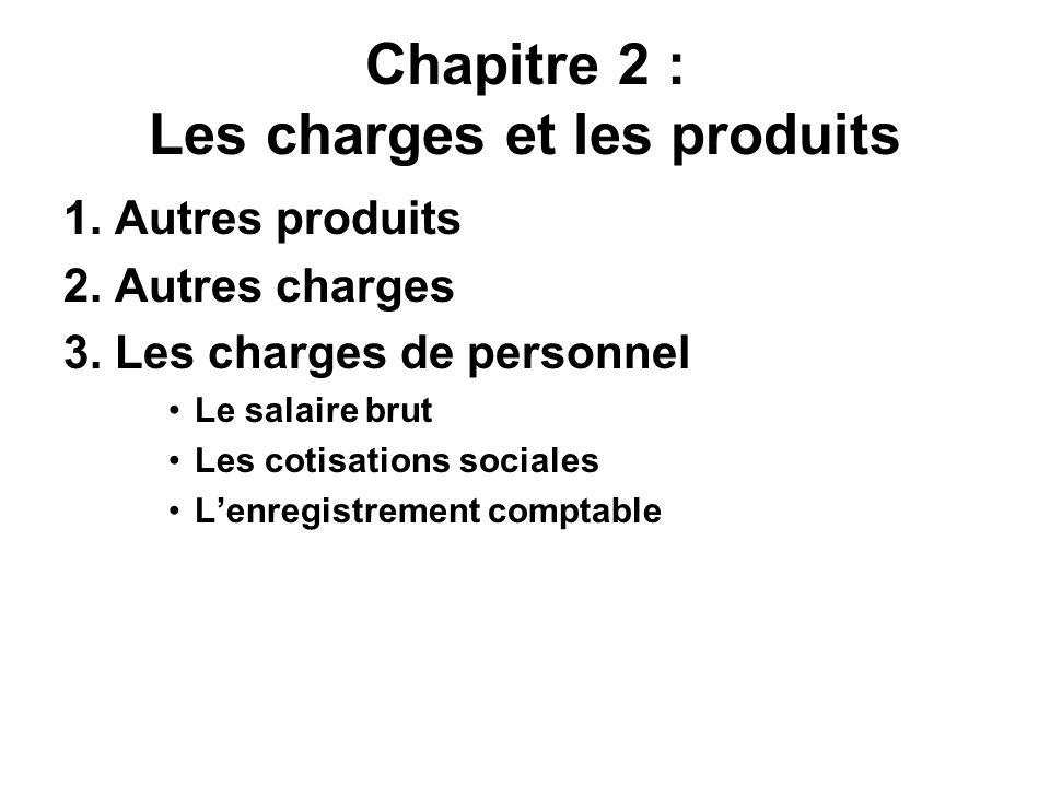 Chapitre 2 : Les charges et les produits 1. Autres produits 2. Autres charges 3. Les charges de personnel Le salaire brut Les cotisations sociales Len