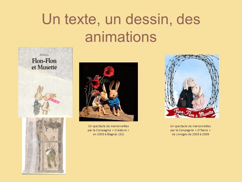 Un texte, un dessin, des animations Un spectacle de marionnettes par la Compagnie « Créature » en 2003 à Blagnac (31) Un spectacle de marionnettes par