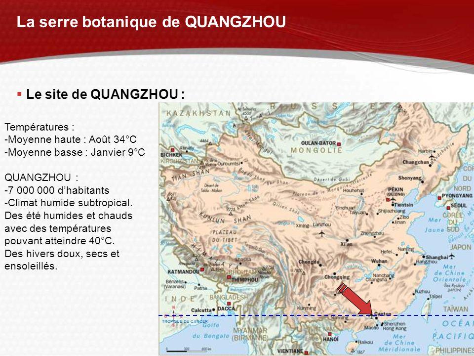 YOUR LOGO La serre botanique de QUANGZHOU Le site de QUANGZHOU : Températures : -Moyenne haute : Août 34°C -Moyenne basse : Janvier 9°C QUANGZHOU : -7