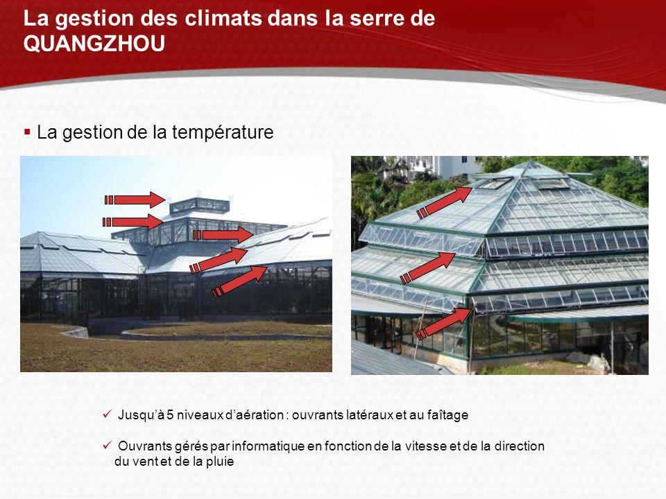 La gestion des climats dans la serre de QUANGZHOU La gestion de la température Jusquà 5 niveaux daération : ouvrants latéraux et au faîtage Ouvrants g