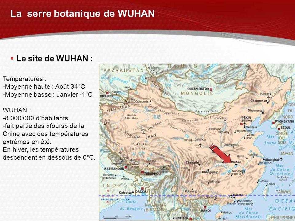 YOUR LOGO La serre botanique de WUHAN Le site de WUHAN : Températures : -Moyenne haute : Août 34°C -Moyenne basse : Janvier -1°C WUHAN : -8 000 000 dh