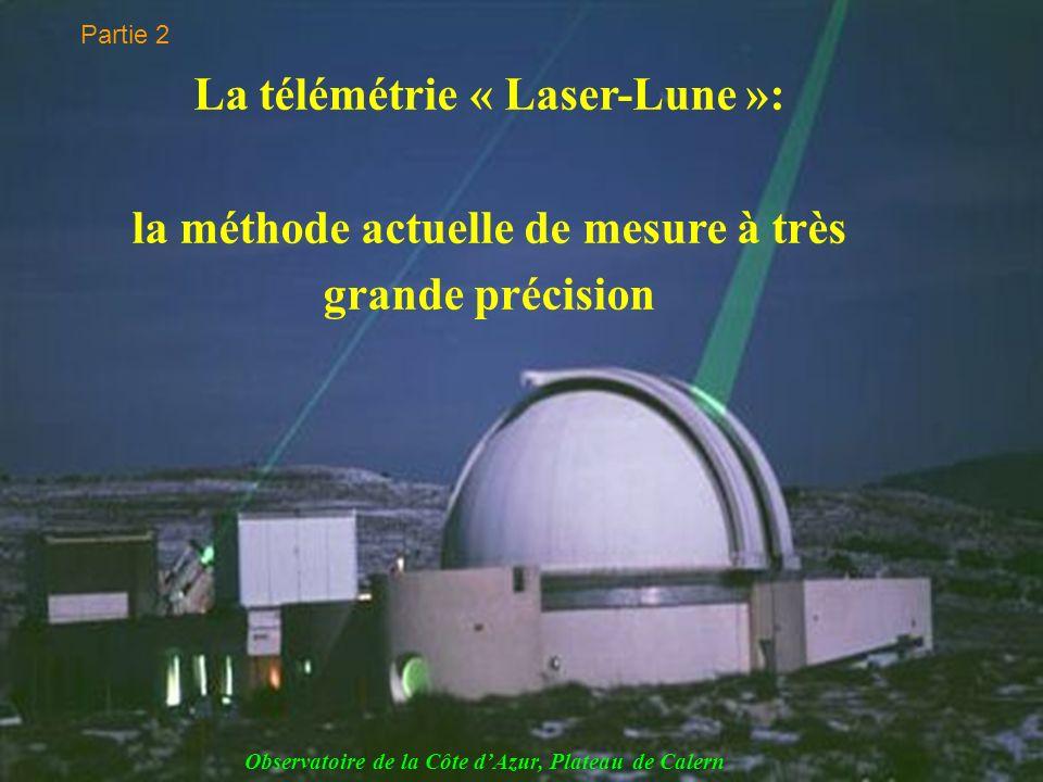 La télémétrie « Laser-Lune »: la méthode actuelle de mesure à très grande précision Observatoire de la Côte dAzur, Plateau de Calern Partie 2
