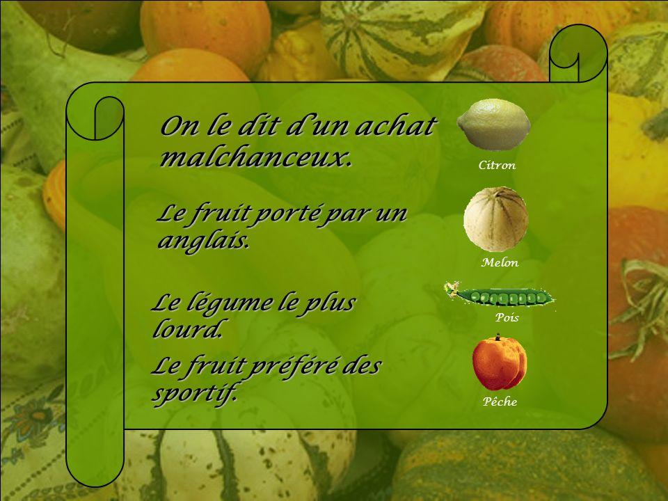 Jeu de devinette. Vous devez trouver le nom dun fruit ou légume qui correspond à une certaine description. Après quelques secondes de penser y bien, u