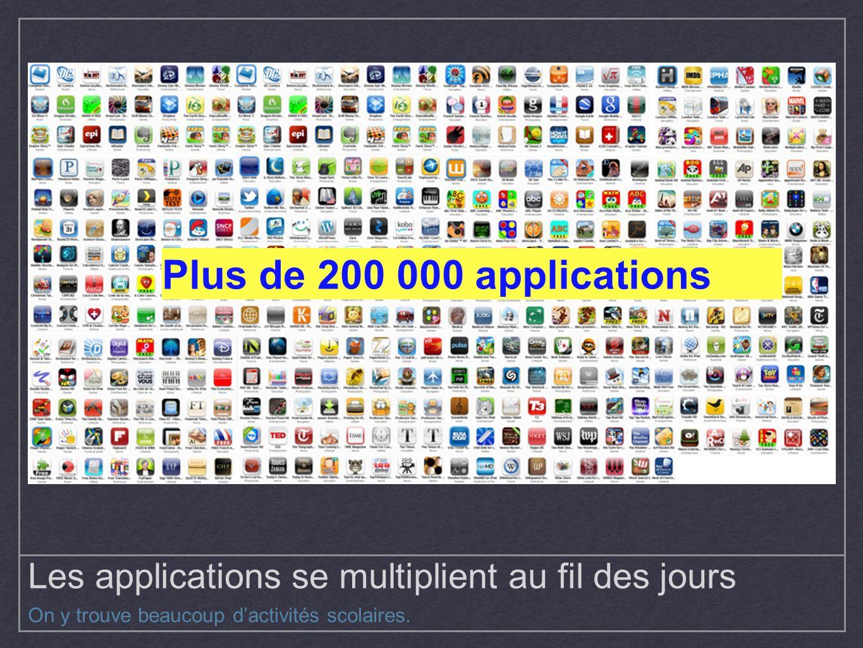 Les applications se multiplient au fil des jours On y trouve beaucoup dactivités scolaires. Plus de 200 000 applications