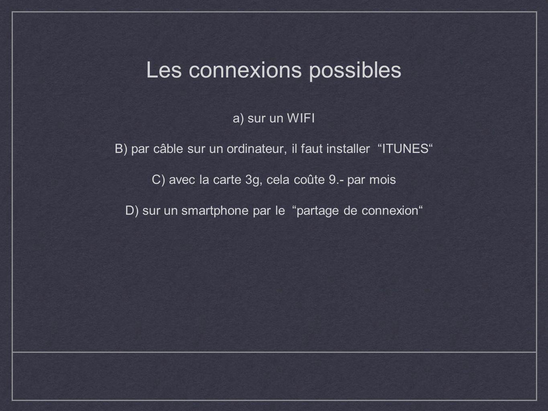 Les connexions possibles a) sur un WIFI B) par câble sur un ordinateur, il faut installer ITUNES C) avec la carte 3g, cela coûte 9.- par mois D) sur u