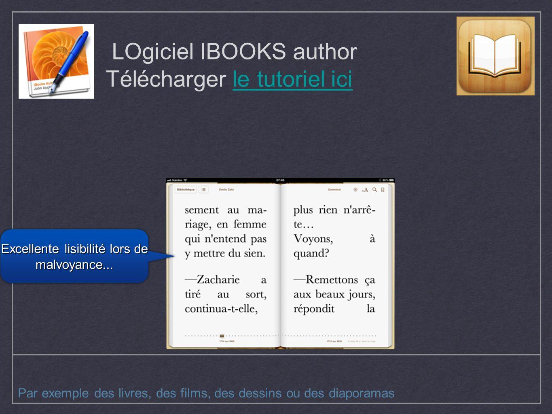 LOgiciel IBOOKS author Télécharger le tutoriel icile tutoriel ici Par exemple des livres, des films, des dessins ou des diaporamas Excellente lisibili