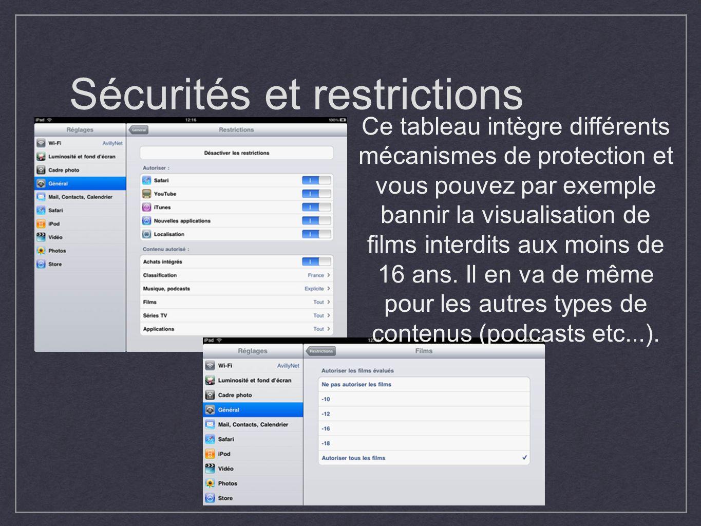 Sécurités et restrictions Ce tableau intègre différents mécanismes de protection et vous pouvez par exemple bannir la visualisation de films interdits