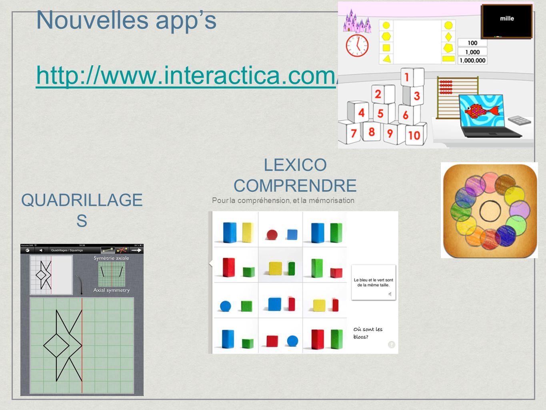 Nouvelles apps http://www.interactica.com/ http://www.interactica.com LEXICO COMPRENDRE Pour la compréhension, et la mémorisation QUADRILLAGE S