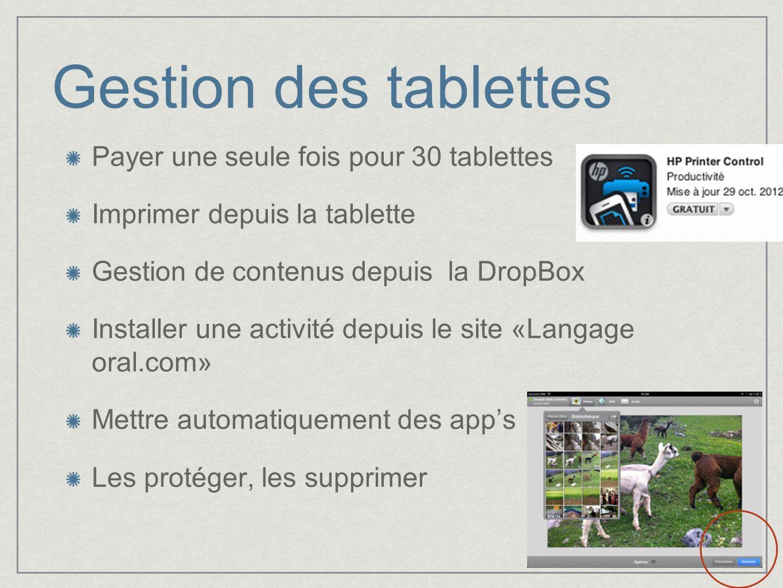 Gestion des tablettes Payer une seule fois pour 30 tablettes Imprimer depuis la tablette Gestion de contenus depuis la DropBox Installer une activité
