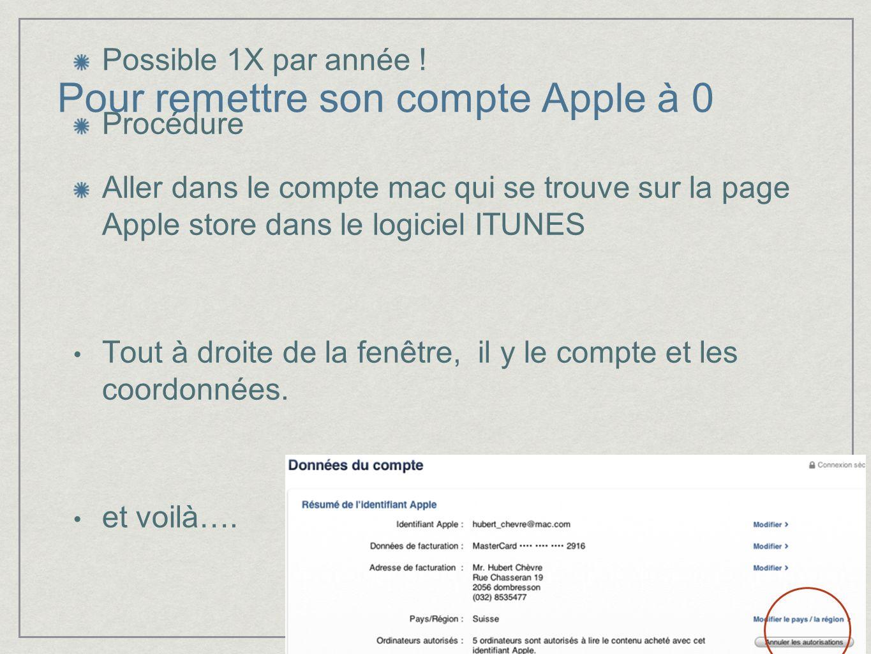 Pour remettre son compte Apple à 0 Possible 1X par année ! Procédure Aller dans le compte mac qui se trouve sur la page Apple store dans le logiciel I