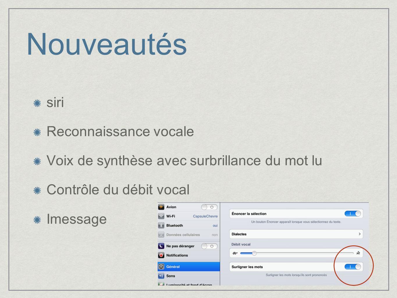 Nouveautés siri Reconnaissance vocale Voix de synthèse avec surbrillance du mot lu Contrôle du débit vocal Imessage