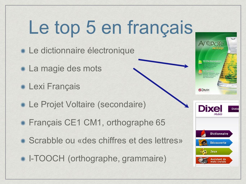 Le top 5 en français Le dictionnaire électronique La magie des mots Lexi Français Le Projet Voltaire (secondaire) Français CE1 CM1, orthographe 65 Scr