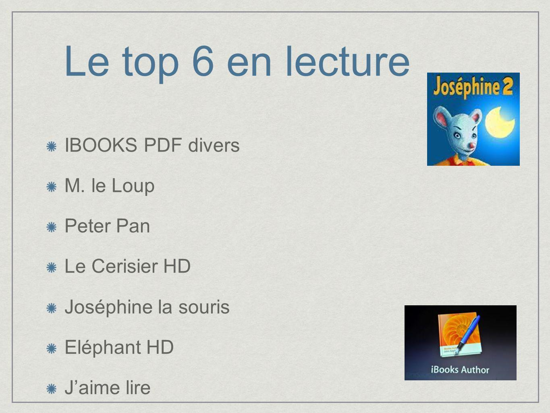 Le top 6 en lecture IBOOKS PDF divers M. le Loup Peter Pan Le Cerisier HD Joséphine la souris Eléphant HD Jaime lire
