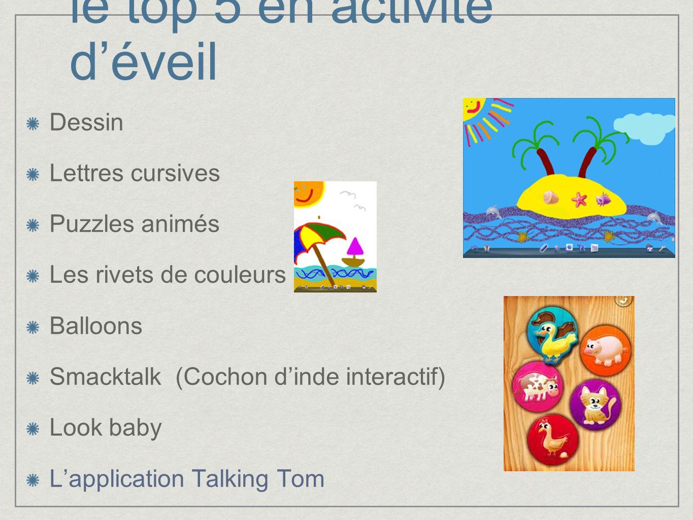 le top 5 en activité déveil Dessin Lettres cursives Puzzles animés Les rivets de couleurs Balloons Smacktalk (Cochon dinde interactif) Look baby Lappl