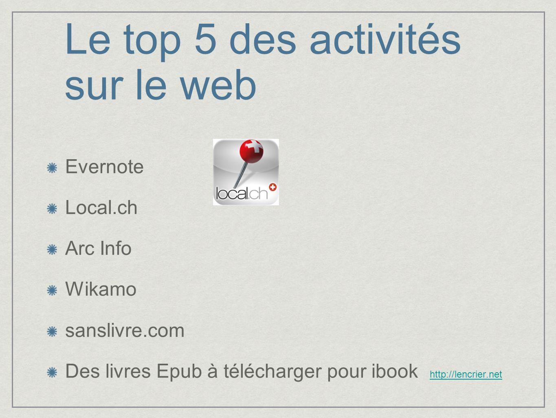 Le top 5 des activités sur le web Evernote Local.ch Arc Info Wikamo sanslivre.com Des livres Epub à télécharger pour ibook http://lencrier.nethttp://l