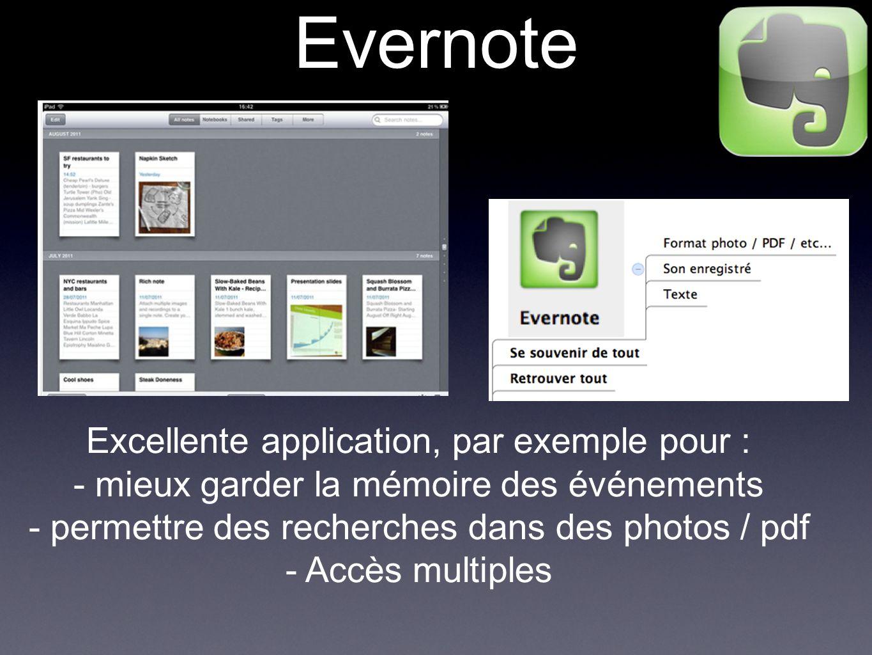 Evernote Excellente application, par exemple pour : - mieux garder la mémoire des événements - permettre des recherches dans des photos / pdf - Accès