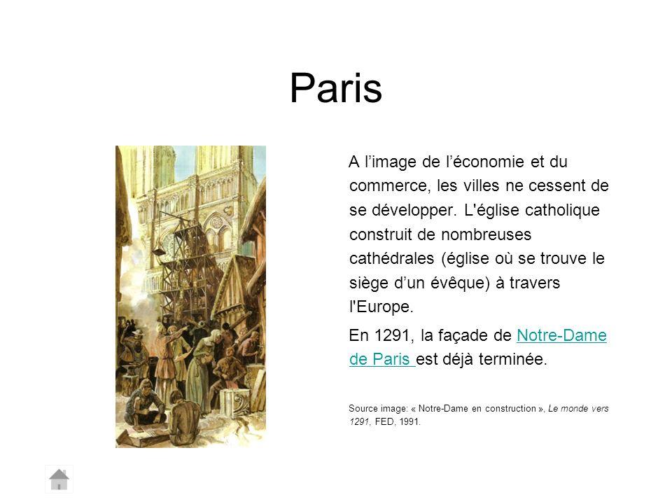 Paris A limage de léconomie et du commerce, les villes ne cessent de se développer. L'église catholique construit de nombreuses cathédrales (église où