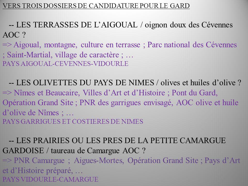 Ordre du jour 26 avril Matin : point sur les candidatures et méthodo + DYNAMIQUE / figues de Vézénobres / Costières de Nîmes / pélardon / riz / ….